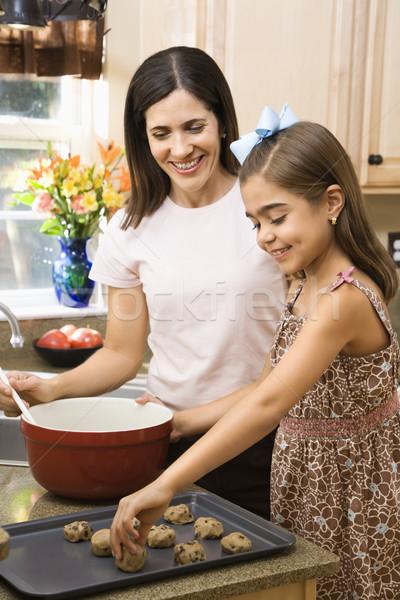 母親 娘 ヒスパニック キッチン クッキー ストックフォト © iofoto