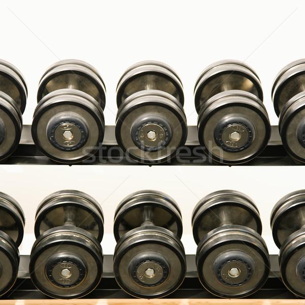 Cremalheira mão pesos saúde clube ginásio Foto stock © iofoto