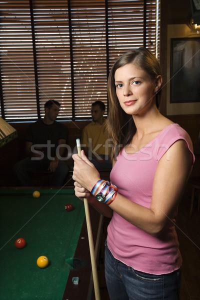 Kadın bilardo masası portre ayakta bilardo tablo Stok fotoğraf © iofoto