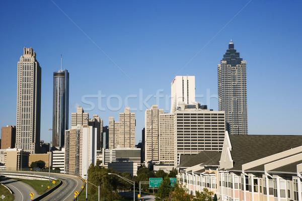 Atlanta skyline Georgië weg stad Stockfoto © iofoto