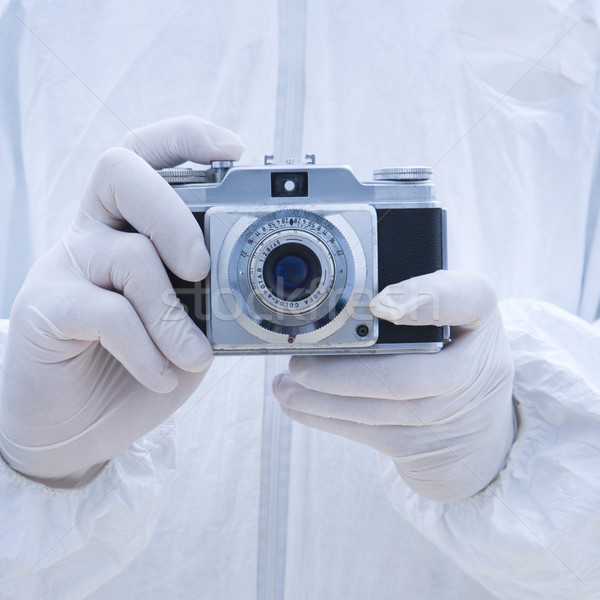 Biohazard man antique camera. Stock photo © iofoto