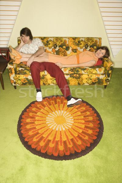 пару диван кавказский женщину красочный ретро Сток-фото © iofoto