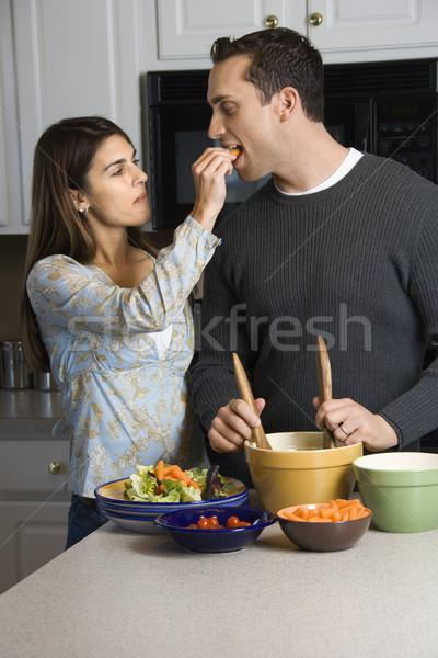 пару кухне кавказский женщину человека Сток-фото © iofoto