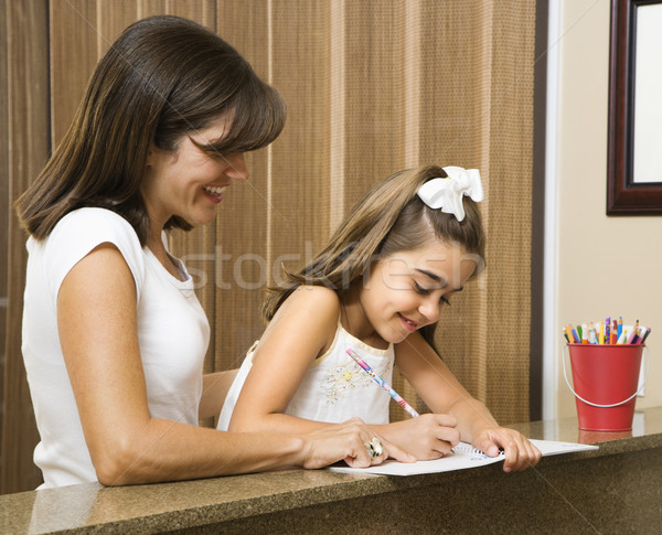 Mom helping daughter. Stock photo © iofoto