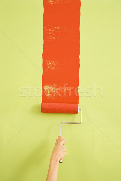 Woman painting wall. Stock photo © iofoto