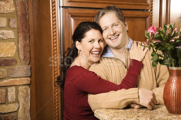 Para uśmiechnięty kobieta broni około Zdjęcia stock © iofoto