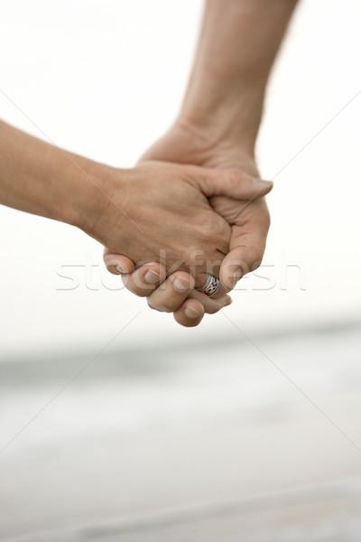 Man vrouw holding handen kaukasisch strand reizen Stockfoto © iofoto