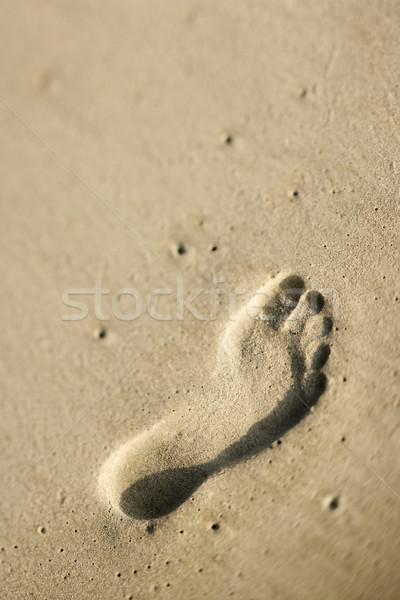 Foto stock: Pegada · areia · mar · fundo · oceano · cor