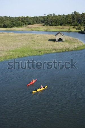 Two boys kayaking. Stock photo © iofoto