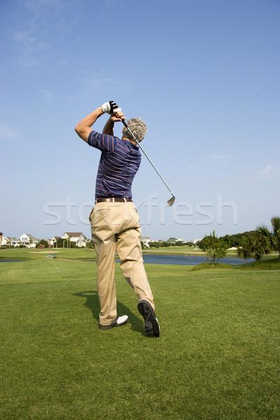 Stockfoto: Man · spelen · golf · achteraanzicht · club · kleur