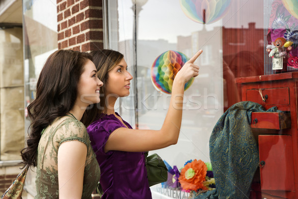 Young Women Window Shopping Stock photo © iofoto