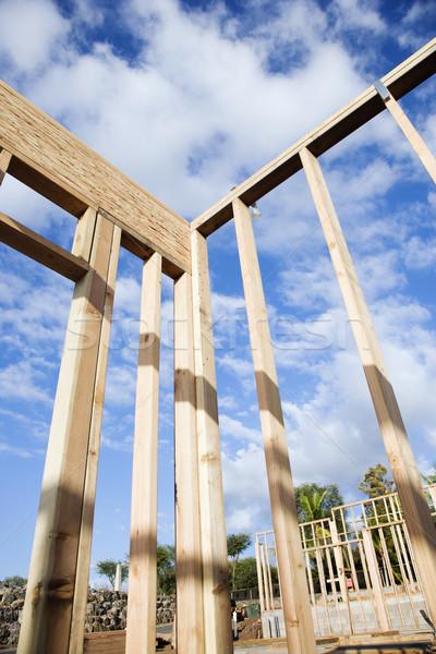 Construção parede seção fora madeira blue sky Foto stock © iofoto