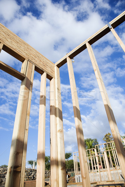 Bouw muur uit hout blauwe hemel Stockfoto © iofoto