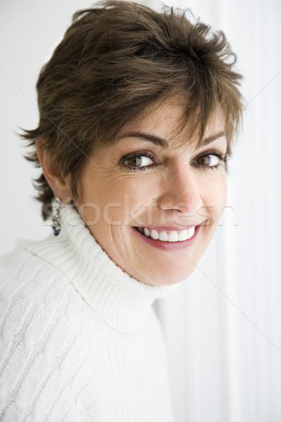 женщина улыбается голову плечо портрет довольно кавказский Сток-фото © iofoto