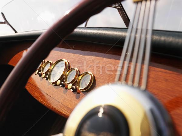 łodzi kierownica szczegół tablica rozdzielcza kolor Zdjęcia stock © iofoto