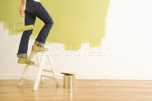 Woman painter on ladder. Stock photo © iofoto
