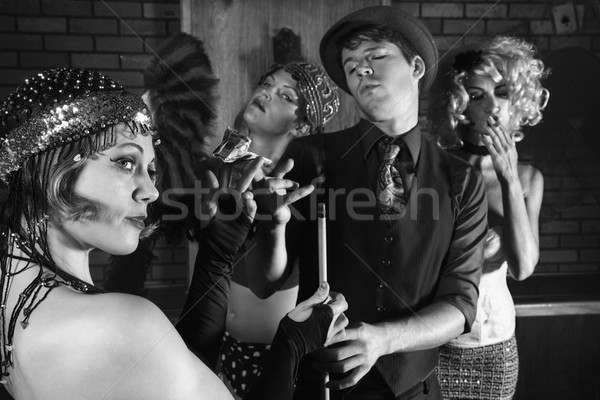 Retro group in pool hall. Stock photo © iofoto