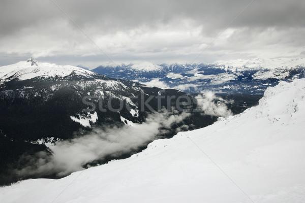 Stock photo: Ski resort mountain with snow.