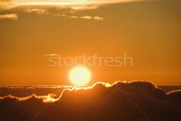 Sun rising over clouds. Stock photo © iofoto