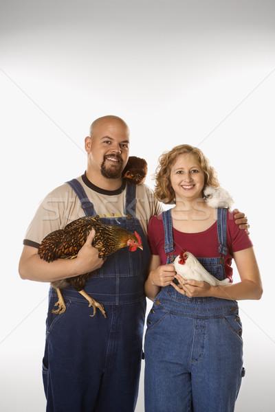 Foto stock: Mujer · hombre · caucásico · sonrisa · aves · pollo