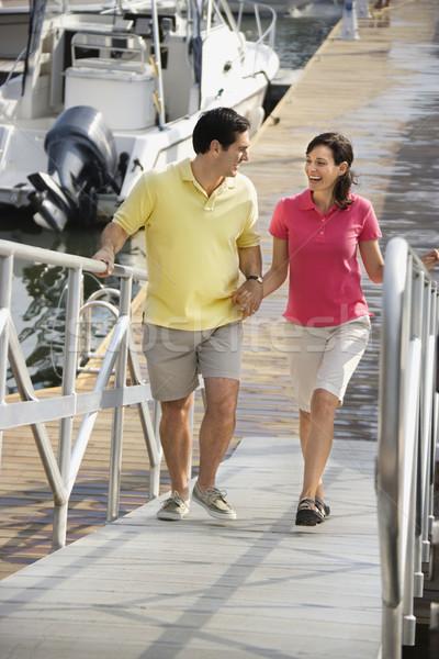 Stock fotó: Pár · marina · kaukázusi · kéz · a · kézben · sétál · felfelé