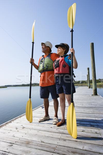Quai couple permanent bateau Photo stock © iofoto