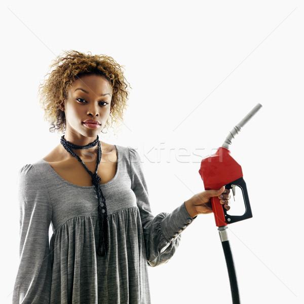Femme gaz buse portrait joli Photo stock © iofoto