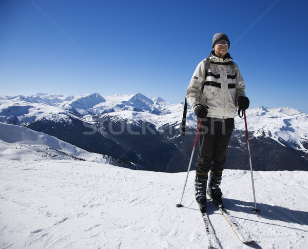 Stock photo: Man on ski slopes.