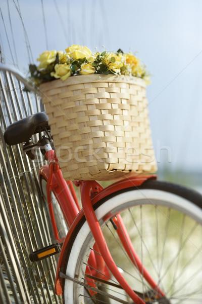 Foto stock: Moto · flores · rojo · vintage · bicicleta · cesta