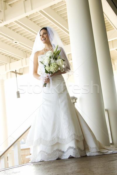 Сток-фото: портрет · невеста · кавказский · цветок · любви · цвета