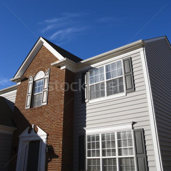 Ház külső külső tégla bakelit otthon ablak Stock fotó © iofoto