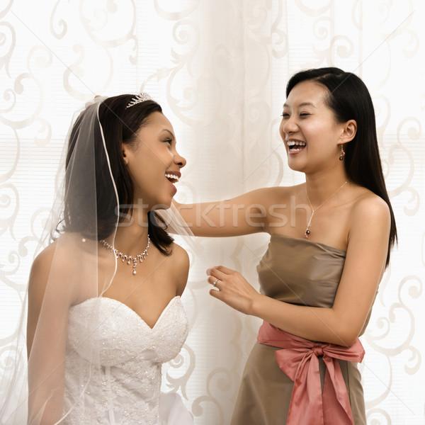 Nevet menyasszony koszorúslány ázsiai nő boldog Stock fotó © iofoto