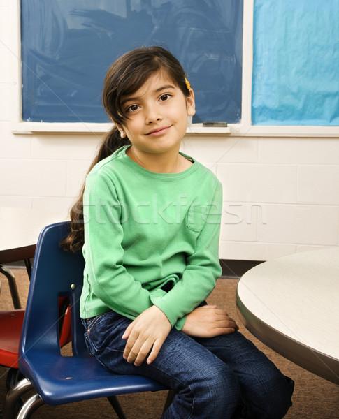 Lány osztályterem fiatal női diák ül Stock fotó © iofoto