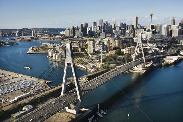 Stock fotó: Sydney · Ausztrália · légifelvétel · híd · épületek · víz