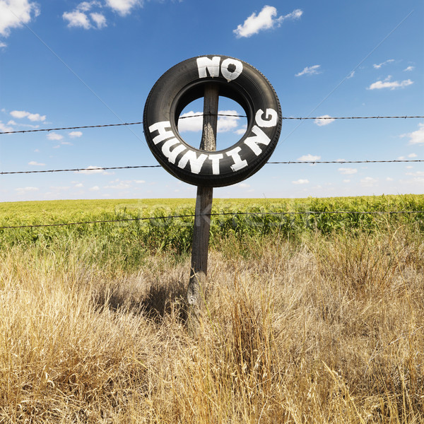 Field with no hunting sign. Stock photo © iofoto