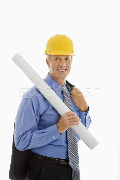 építkezés felügyelő kaukázusi középkorú üzletember tart Stock fotó © iofoto