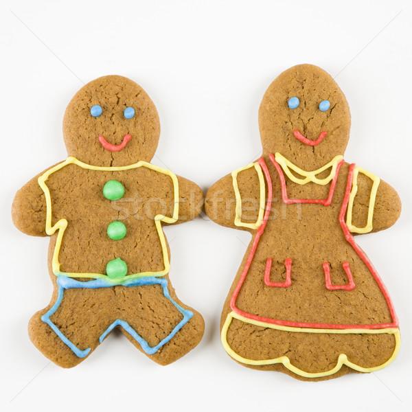 Stockfoto: Peperkoek · paar · mannelijke · vrouwelijke · cookies · holding · handen