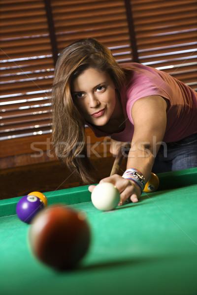 Spielen Billard Pool vertikalen erschossen Stock foto © iofoto