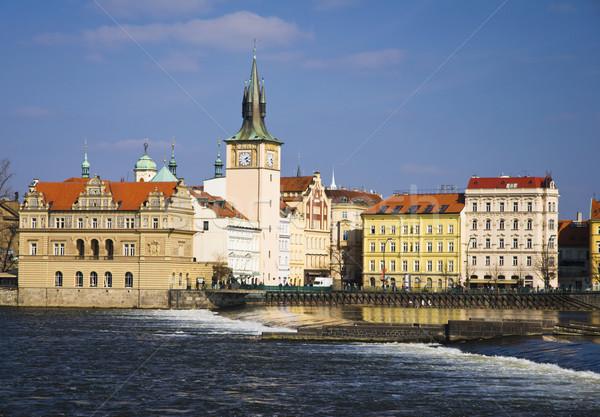 Belediye binası nehir su bahar saat kırmızı Stok fotoğraf © Ionia