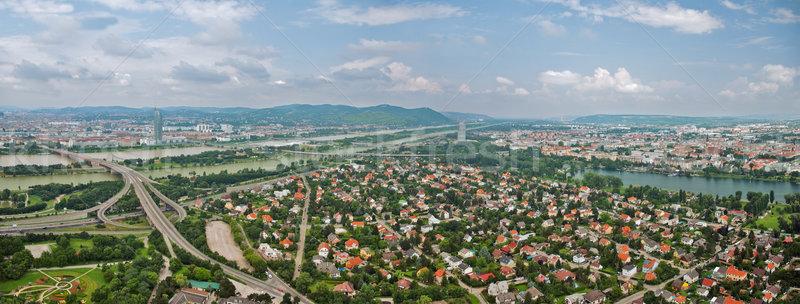 Widok z lotu ptaka Wiedeń wieża Austria panorama miasta Zdjęcia stock © Ionia