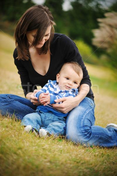 Anne oğul park mutlu çocuk eğlence Stok fotoğraf © Ionia