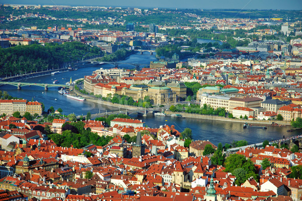 Panoramic view from Petrin tower in Prague Stock photo © Ionia