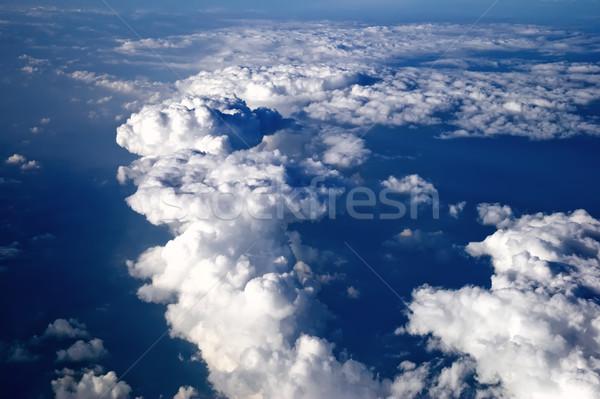 Mavi gökyüzü kapalı bulutlar panorama uçak doğa Stok fotoğraf © Ionia