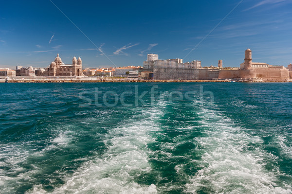 View of the Vieux Port - old port of Marseilles, France  Stock photo © Ionia