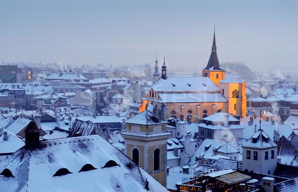 冬 プラハ 風景 雪 背景 アーキテクチャ ストックフォト © Ionia