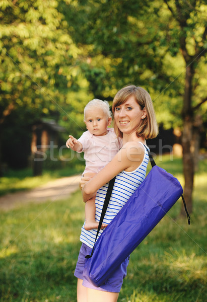 Mother and her daugther going for yoga class Stock photo © Ionia