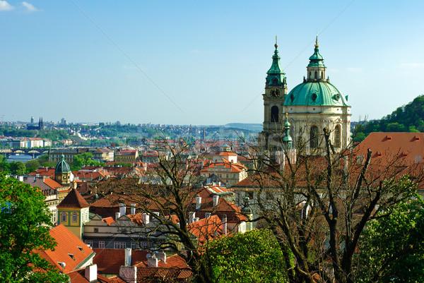 Güneşli Prag görmek gökyüzü Bina orman Stok fotoğraf © Ionia