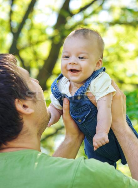 Syn ojca skupić dzieci twarz baby człowiek Zdjęcia stock © Ionia