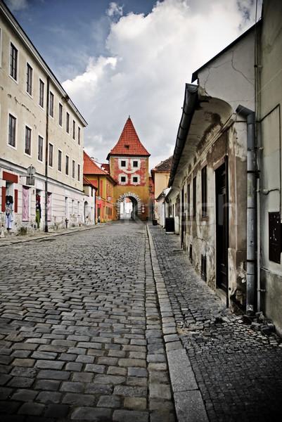 Europejski ulicy wąski kamień architektury dachu Zdjęcia stock © Ionia