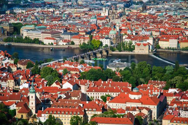 View of Charles Bridge in Prague from Petrinska tower Stock photo © Ionia